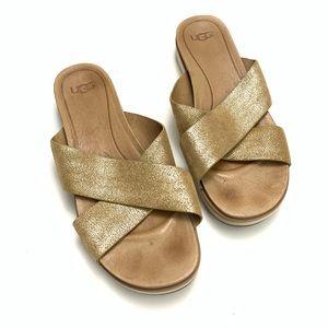 UGG | Crisscrossed Gold Sandals Size 10